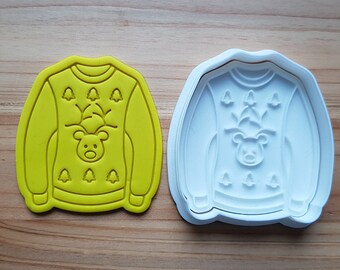 Ugly Sweater(Rudolph) Cookie Cutter and Stamp
