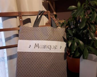 "bag ""tote"" bag""reinforced with strong fabric for musician! embroidered point cross"
