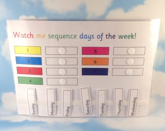 Sequence days of the week, KS1, Early learners, Home education, Teaching resource, Visual supports, Children's development, EYFS