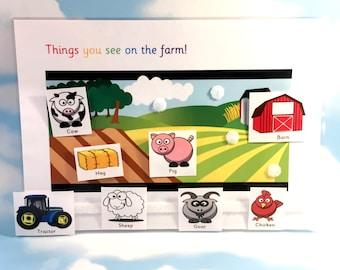 Learn farm yard animals, Nursery, Pre-school, Interactive play, early years, Visual learners, PECS, Children's development, EYFS