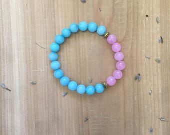 Mala Bead Bracelet | Mala Beads | Blue Aqua Amazonite Beads | Rose Quartz Beads