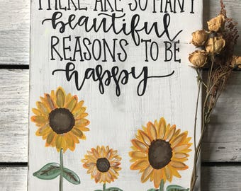 Be Happy Floral Sign