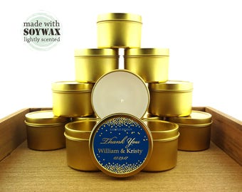 12 ct Gold and navy blue wedding favors, 4 oz tin candles, personalized soy candles,blue and gold confetti design, bridal shower favors