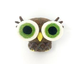 Needle Felted Big Eyes Owl