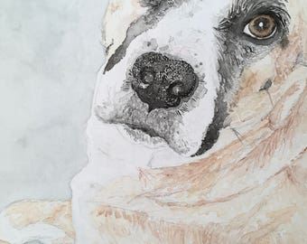 Custom Dog Watercolor Portrait on Canvas/Gifts for Dog Lovers/Custom Pet Paintings