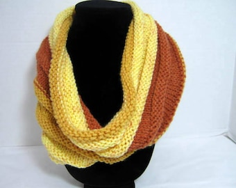 Butterscotch Knitted Cowl Scarf in Acrylic Yarn