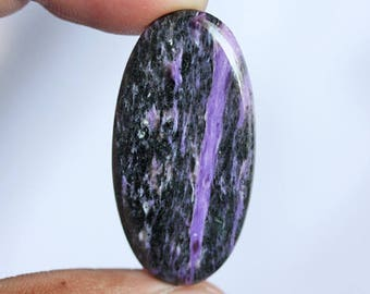 Top Quality Natural Charoite Oval Cabochon, Size 35X18X4 MM, Loose Semi Precious, Gemstone Jewellery, Pendant Stone, Handmade, Supplies 6020