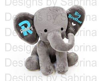 BIG Brother/Sister ELEPHANT-Sibling Gift-Brother-Sister-Baby Shower Gift-Baby Gift-Plush Elephant-Stuffed Elephant-Birth Announcement