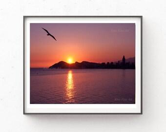 Sunset Wall Art, Instant Download Printable Art, Digital Download, Blue Print,