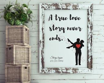 A true love story never ends, customizable wedding present, sillouhettes