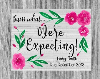 Digital Download Simple floral baby announcement personalize printable