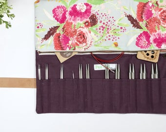 Interchangeable Needle Case/Knitting Needle Case/Organizer:  Made To order Spring Flowers