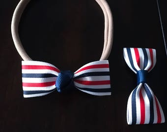 4th July Hair Bow|| Patriotic Hair Bow|| Baby/Toddler Red White and Blue Clip|| Independence Hair Clip