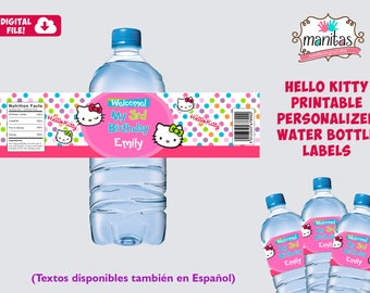 Printable Hello Kitty Water Bottle Label, Hello Kitty Party, Hello Kitty Birthday, Hello Kitty Decoration, Hello Kitty Favors, Hello Kitty