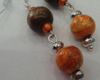 Chocolate and orange earrings