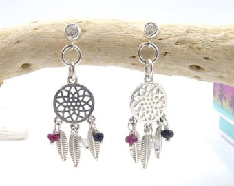 Dream catcher tourmaline earrings Summer outdoors Summer Party boho earrings dreamcatcher earrings  Bohemian earring