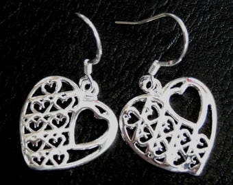 Heart Earrings, Filigree Dangle Earrings, Silver Lace Earrings, Heart Dangle Everyday Earring, Minimalist Jewelry