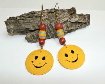 Yellow Smiley Face Dangle Earrings,Funny Emoji Earrings, Long Wood Earrings, Handmade Boho Earrings, Happy earrings, Eco Gift for her
