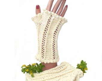 Cream Fingerless Cotton Gloves