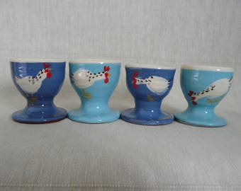 Egg cup. Set of four pottery egg cups. Egg cups with chicken. Blue eggcups. Turquoise egg cups