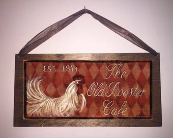 12x6 Old Rooster Cafe Est. 1874 Home Decor Sign with Choice of Black Wire or Brown Ribbon for Easy Hanging