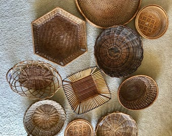 Vintage wall collection of 10 baskets