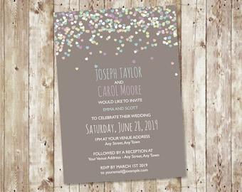 Confetti Wedding Invitation Printable / Modern Wedding Invite PDF Template Download  - Design ID: 08-55A