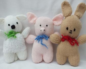 Hand Knitted Farm Animals, Stuffed Small Soft Lamb, Pig and Rabbit