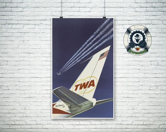 Vintage travel poster-art print-TWA-1960-american air transport-retro art print-travel advertising