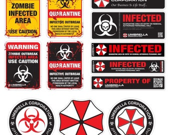 Umbrella Corporation Resident Evil Infected Zombie vinyl stickers decal