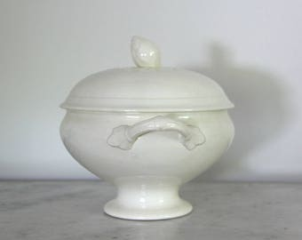 Antique French White Ironstone Bowl, Shabby Chic Earthenware Tureen, Primitive Farmhouse Kitchen, Jeanne D'arc Living