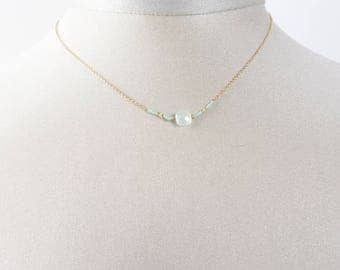 Necklace chain gold plated Aqua chalcedony and fine