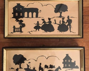 Set of Two Framed Silhouettes