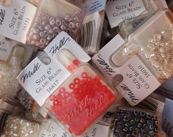 Lot of 10 Mill Hill PONY Size 6 Beads, Bulk Seed Beads Assorted Colors, Assorted Beads, Beads Lot