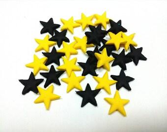 Batman style yellow and black stars 1cm Edible fondant
