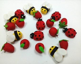 Bee ladybugs apple strawberry cupcake toppers decorations 35pcs Edible fondant