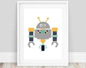 Robot Poster - Robot Print, Robot Printable Art, Robot Art Print, Retro Robot Poster, Robot Nursery Prints, Cute Robot, Kids Room Prints