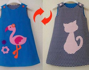 Jumper dress Reversible girls dress Flamingo applique Cat dress Toddler pinafore dress Chevron dress Turquoise dress Sizes 3m up to 8years