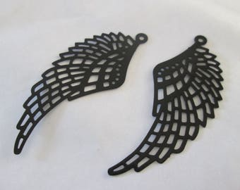 prints 2 wings metal filigree black 50 x 20 mm