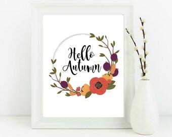 Hello Autumn print, autumn print, Autumn decor, floral wall art, typography wall art, autumn wall art, floral print