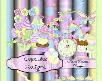 Cupcake Delight Scrap Book, Digital Scrapbooking Kit