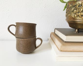 Vintage Denby Potpourri Stoneware Tea Cups + Set of 2 + Made in England + Earthy Natural Kitchen + Retro Kitchen + Vintage Rustic Mugs