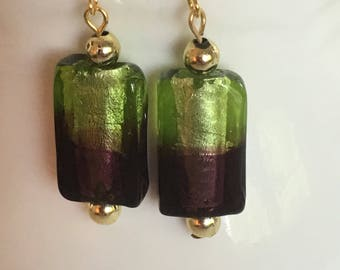 Green and brown dangle earrings. Brown and green dangle earrings. Drop earrings. Green and brown earrings with gold embellishment.