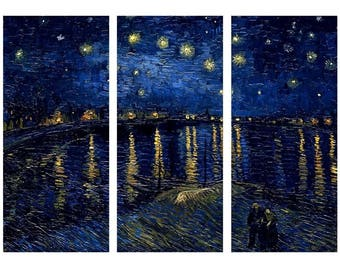"""Starry Night Over The Rhone Vincent Van Gogh PRINT On CANVAS Framed 3 Panels 36""""x 18""""Home Decor Wall Art"""