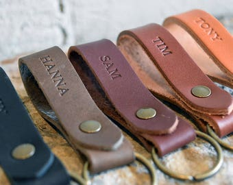 Custom Leather Keychain. Personalized Key fob. Monogrammed Full Grain Leather key chain. Handmade in USA. Gold and Silver Foil Available.