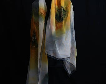 Yellow-orange 180x90, chiffon silk, unique.
