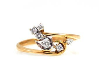 14K & Diamond Leaf Ring - X3249
