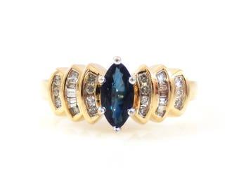 Marquise Sapphire & Diamond 10K Gold Ring - X4361