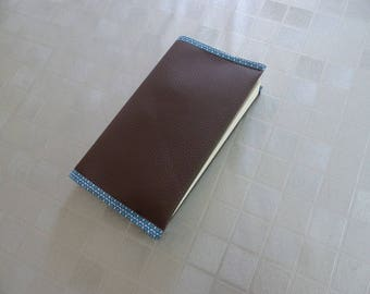 protects books with Brown faux leather pocket
