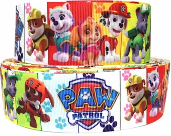 "GROSGRAIN RIBBON 1.5"" Paw Patrol Dogs P14 Printed  By the Yard"